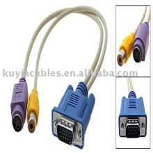 VGA to AV Converter Cable RCA Composite S-Video Adapter Cable